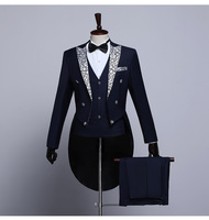 Male Tailcoat Suits White Navy Blue 3 piece Set Stage Performance Singer Dress Suit Magician Wedding Grooms Tuxedo Party Costume