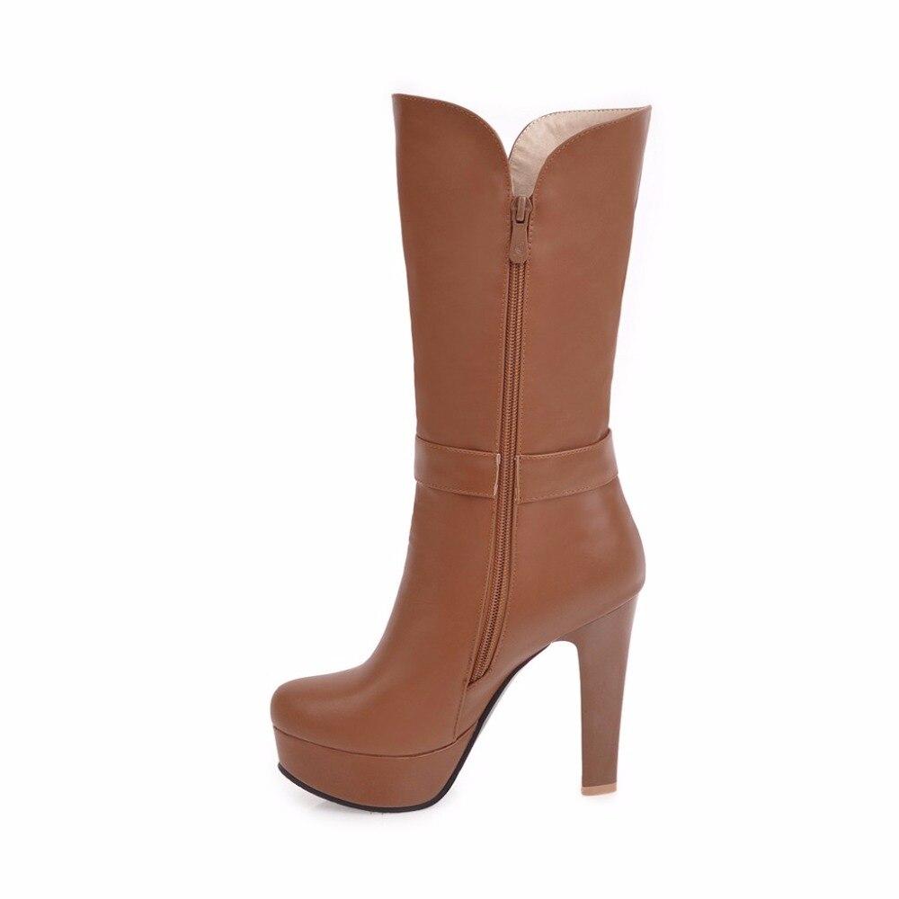 Autumn Winter Woman Platform High Heels Mid Calf Boots Women Short Boots Shoes botas botte femme Plus Size 34 - 40 41 42 43