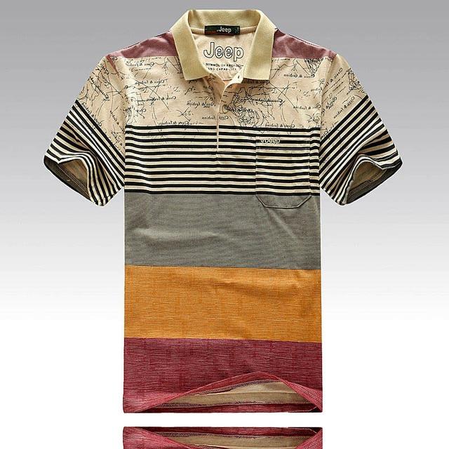 Men Fashion Striped Print Polo Shirts Male Cotton Business & Casual Tops Tee Shirt Brand Clothing Men's Short Sleeve Polo 2223