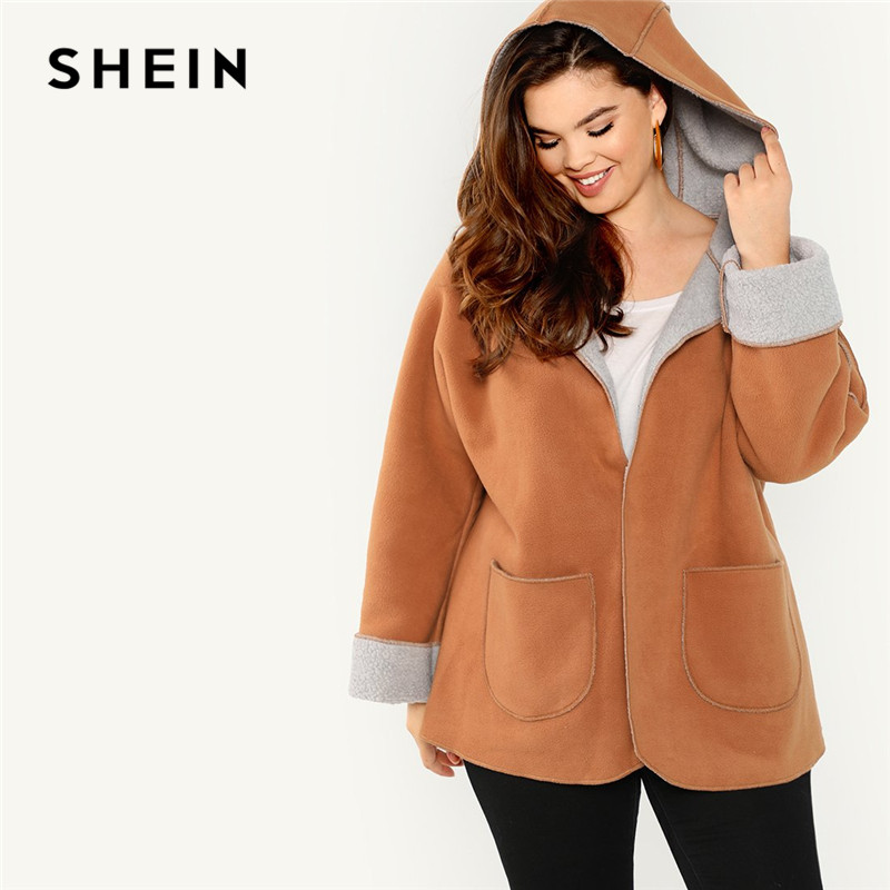Шеин коричневый плюс размеры с флисовой подкладкой Высокая Steet для женщин пальто капюшоном осень 2018 г. карман спереди повседневное теплая в...