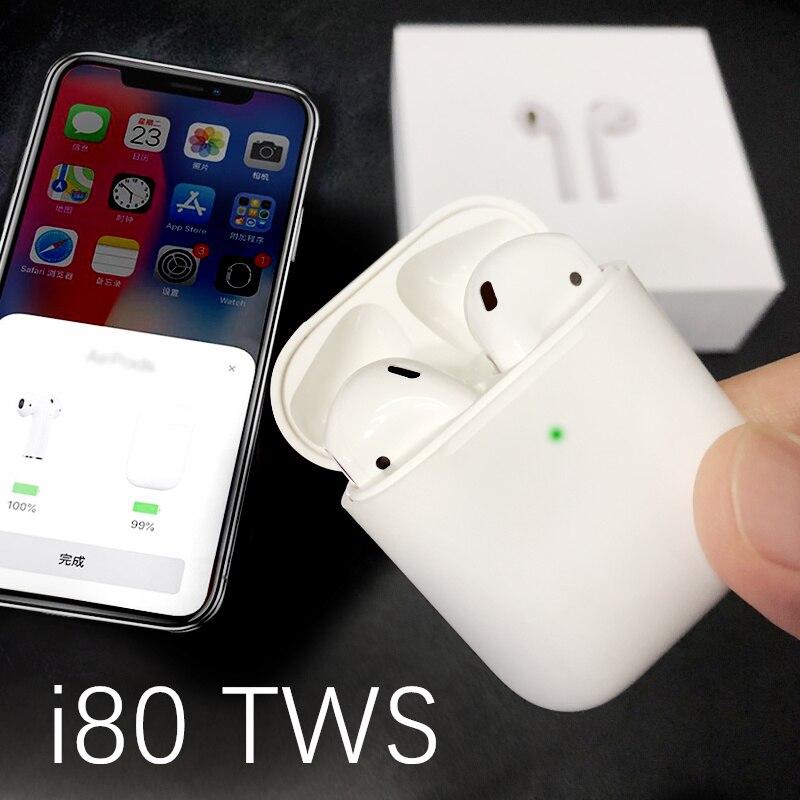 Nouveaux écouteurs Bluetooth TWS i80 W1 puce Pop Up écouteurs avec étui de charge casque 1:1 taille écouteurs vs i20 i30 i60 tws