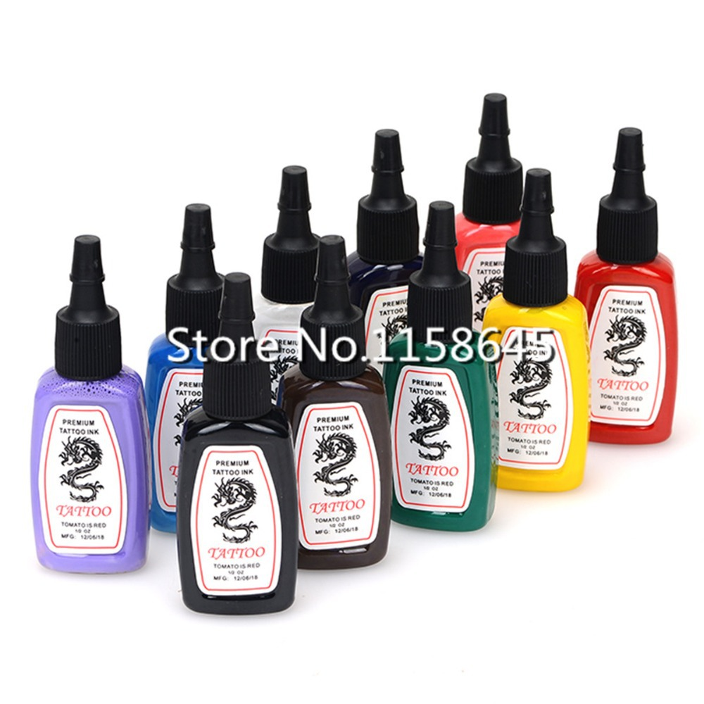 2018 New 10 Color 15ml 1/2 oz Professinal Tattoo Inks Pigment safe ...