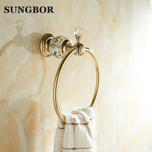 Golden bathroom towel ring holder crystal Towel Ring,Towel Bar accessories SH-99906K