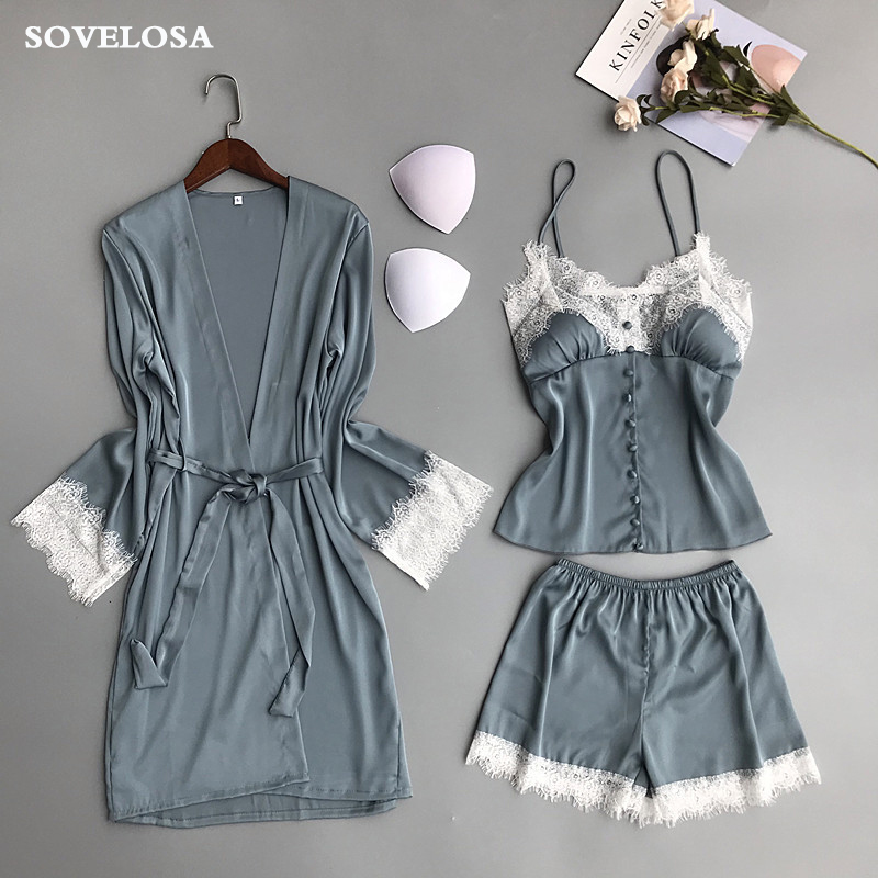 Women   Pajamas     Sets   3 Pieces Satin Sleepwear 2019 Pijama with Chest Pads Sexy Lace Silk Pyjama Femme Nightwear Home Wear Bathrobe