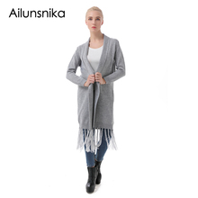 Фотография Ailunsnika Fashion Autumn Winter Long Cardigan Coat Women Long Sleeve Open Front Knitted Oversized Sweater With Tassel SW133