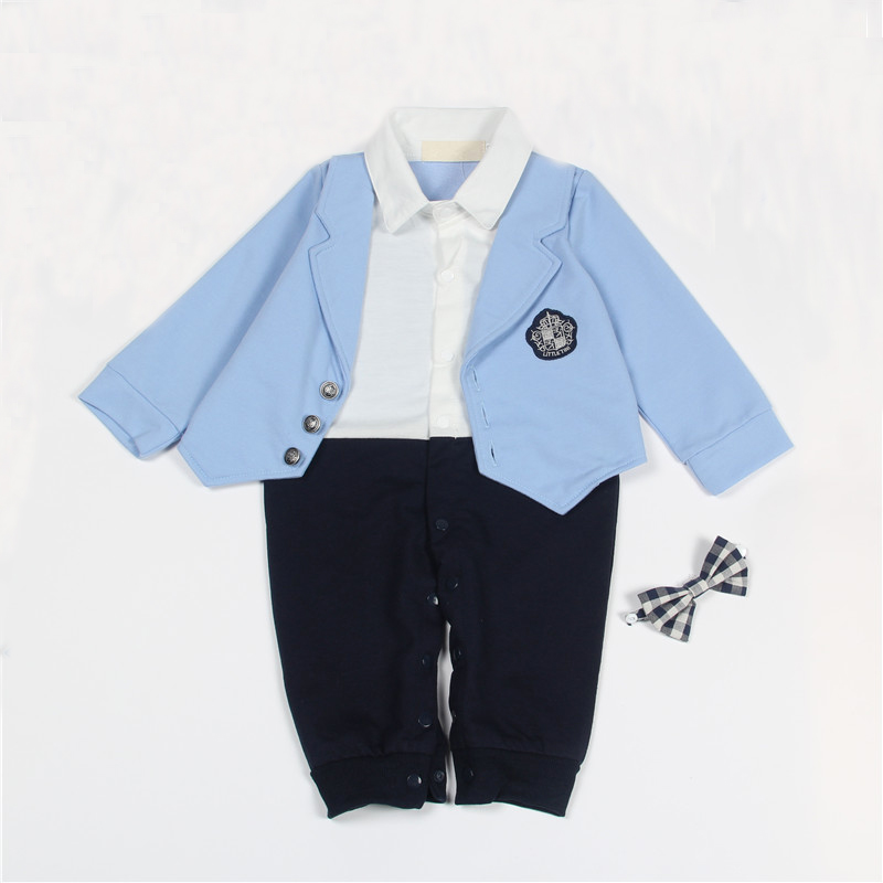 New Baby Romper Long Sleeve One-piece Boys Jumpsuit Wedding Party Formal Infant Suit Newborn Gentlemen Clothes