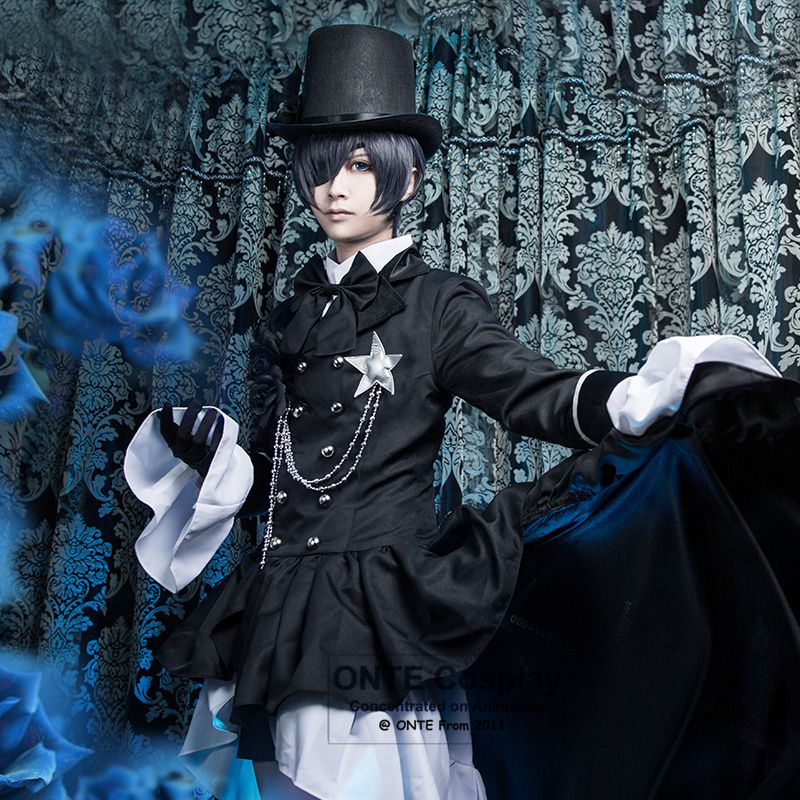 Anime Black Butler Ciel Phantomhive Cosplay Cotumes Kuroshitsuji Halloween Men Fancy Party Trailing Dress Suit Complete Outfit