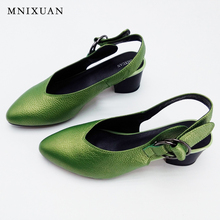 Handmade Genuine leather sandals women shoes Lady high quality 2017 summer Red/Silvery Closed toe medium thick heel big size 10