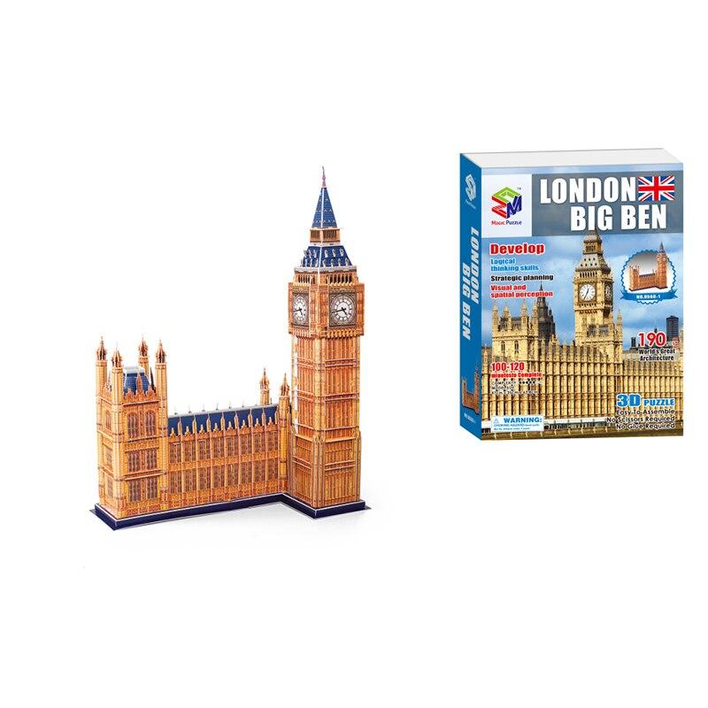 63 cm Puzzles 3D Big Ben jouets de Mode de construction cerveau Teaser apprentissage jeux éducatifs enfants jouets de puzzle pour cadeau de noël
