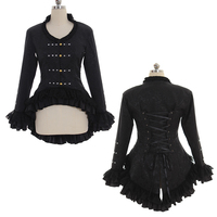 Cosplaydiy Womens Steampunk Tail Jacket Coat Gothic Black Lacing Jacket Costume L320