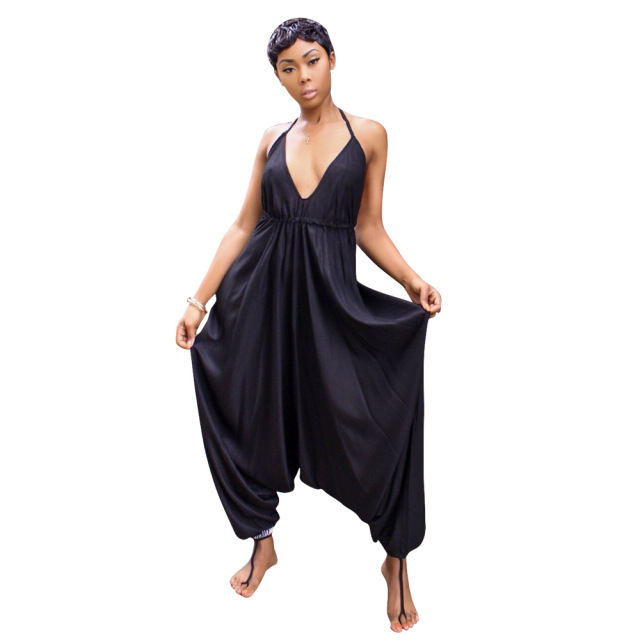 Doyerl Casual Loose Baggy Jumpsuit Women Summer Halter Backless Harem Pants  Romper Coveralls One Piece Overalls 8b1217988139