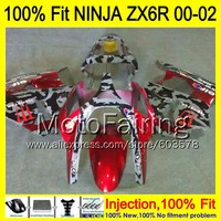 8Gifts Injection mold For KAWASAKI NINJA ZX 6R 00 02 INJ283 ZX 6R ZX6R 00 01 02 ZX636 2000 2001 2002 Fairing Camouflage red