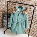 Grande Gola de Pele Do Falso Das Mulheres Parkas Plus Size 3XL 4XL Casual Cintura Longo Casaco Outerwear casaco Quente Grosso Ajustável KK2303