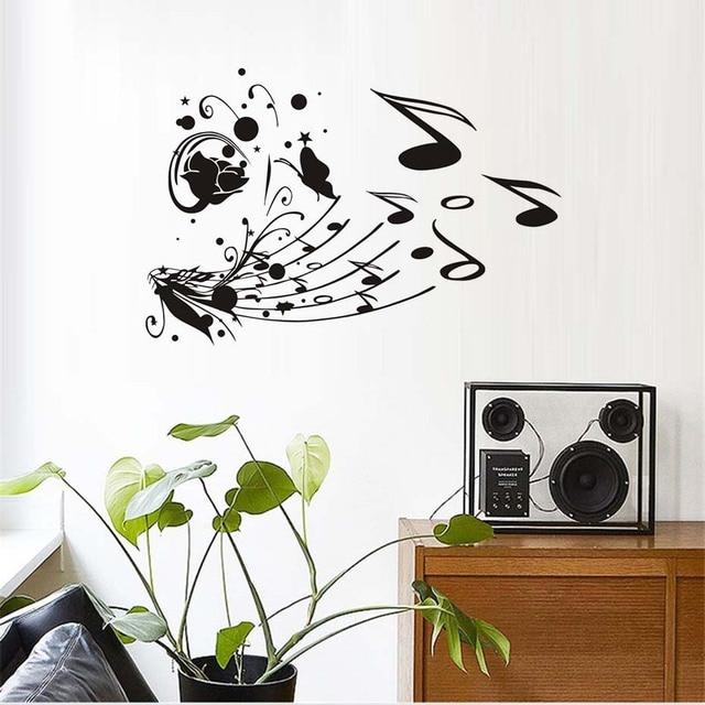 Flower Butterflies Musical Notes Wall Decal Wall Stickers Diy Home ...
