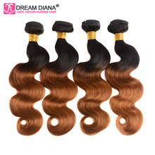 DreamDiana Ombre Peruvian Human Hair Body Wave 4 Bundles Non Remy Two Tones Weave Hair 1B/30 Ombre Colored Human Hair Bundles(China)