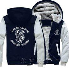 8480da1c Мужская мода зимнее пальто мужские толстовки Harajuku уличная утолщенная Толстовка  сыны анархия Samcro Jax Принт толстовки