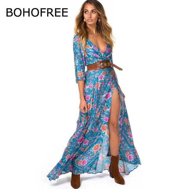 9b0956d34 BOHOFREE 2018 Mujer Bohemian Vestido Longo Floral Maxi Kimono Hippie Vestidos  Feminino V Neck Mangas 3
