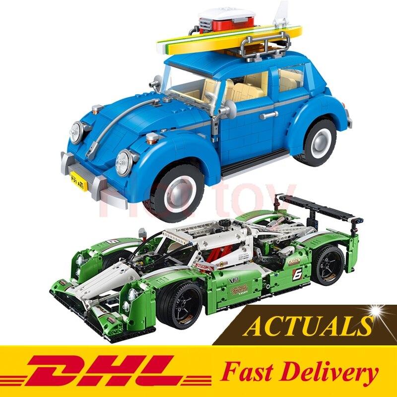 ФОТО Lepin 20003 24 hours Race Car + Lepin 21003 Volkswagen Beetle Technic Series Building Blocks Bricks Toys Gifts Cloen 42039 10252