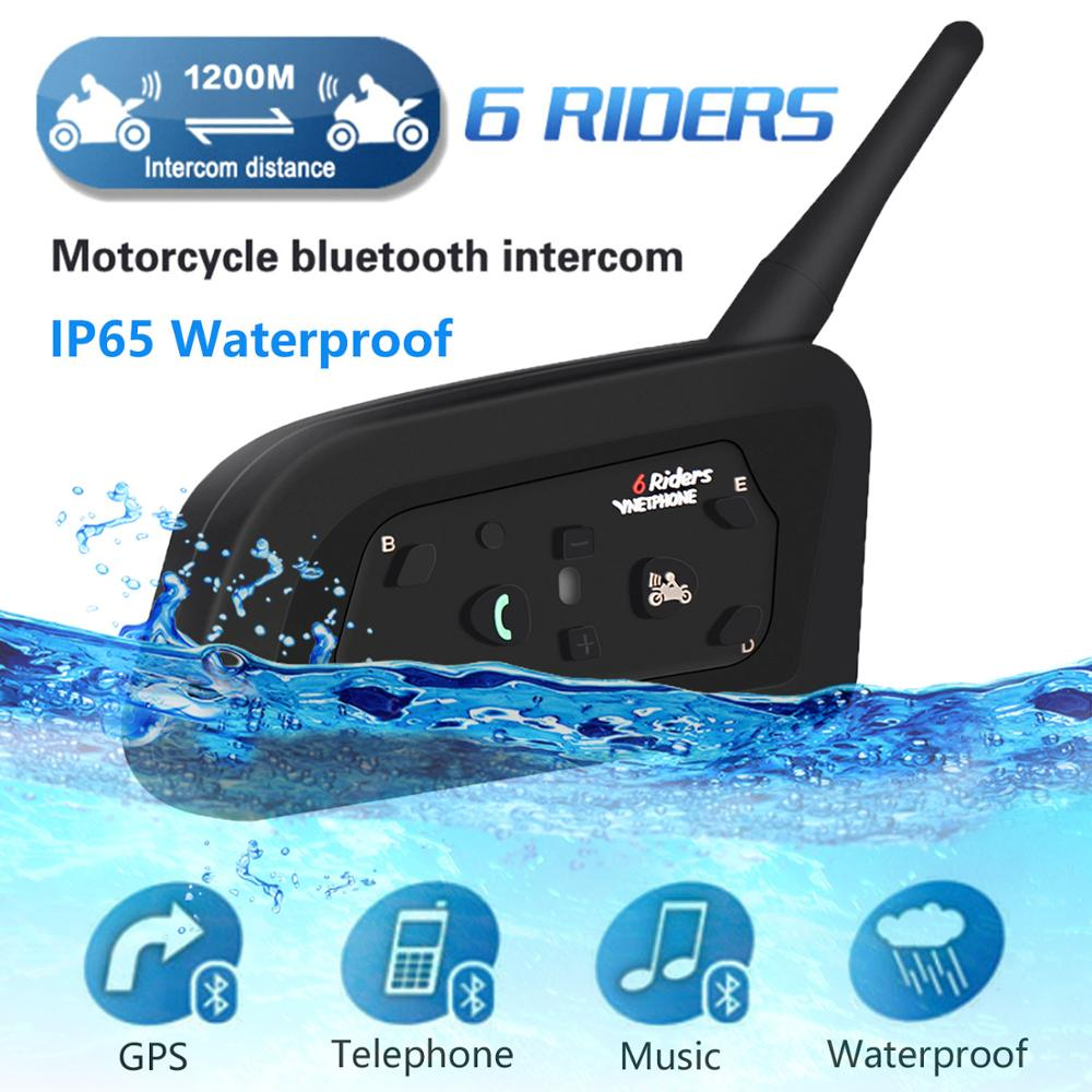 2019 V6 Intercom Helmet Bluetooth Headset Motorcycle Comunicador Capacete Headphone Speaker For 6 Riders IP65 MP3 GPS