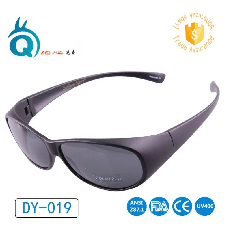 Polarized Wraparound Fit Over Eyeglass Flexible Tr90  Matte Black Hiking Sunglasses