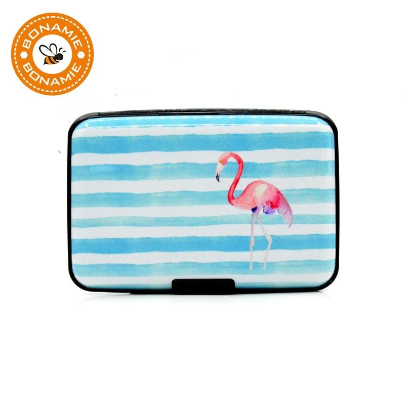 BONAMIE Women Flamingo Aluminum Credit Card ID Holder Case Stripe Metal Wallet RFID Pineapple New Fashion Business Bank Box