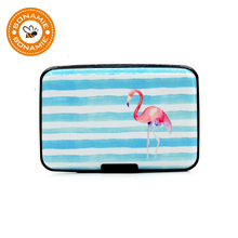 BONAMIE Women Flamingo Aluminum Credit Card ID Holder Case Stripe Metal Wallet RFID Pineapple New Fashion Business Bank Card Box