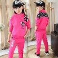 2015 весна и осень детская одежда, Хлопка с длинными рукавами с высоким воротником мультфильм открытый девушки спортивный пиджак + брюки 2 шт.