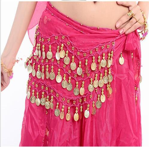 100pcs lot Wholesales fast New Style 128 gold coins belly dance waist chain hip scarf bellydance belt 9 colors for your choice in Belly Dancing from Novelty Special Use