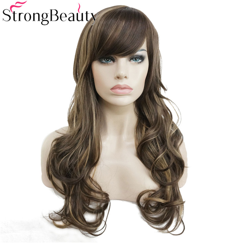 StrongBeauty Synthetic Wig Long Wavy Layered Hairstyle Brown with Blonde Highlights Full ...