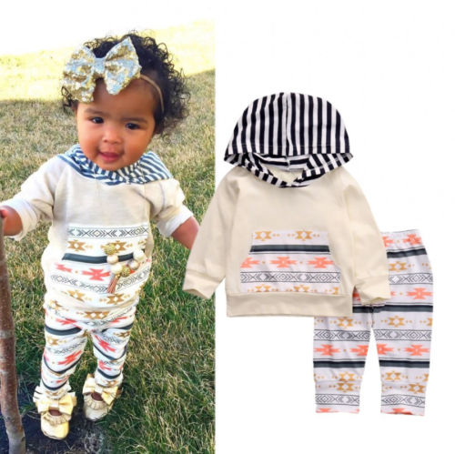 Newborn Baby Girls Long Sleeve Tops T-shirt+Pants Outfits Floral 2PCS Hooded Clothes Set