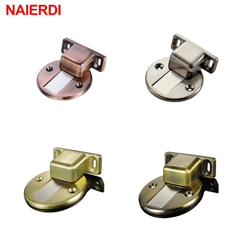 цена на NAIERDI Zinc Alloy Casting Floor-mounted Magnetic Door Stopper Door Stops Floor Suction Door Holder For Home Furniture Hardware