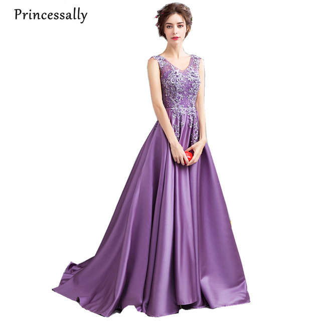 Princessally New Luxury Purple Satin Evening Gown Backless V Neck ...