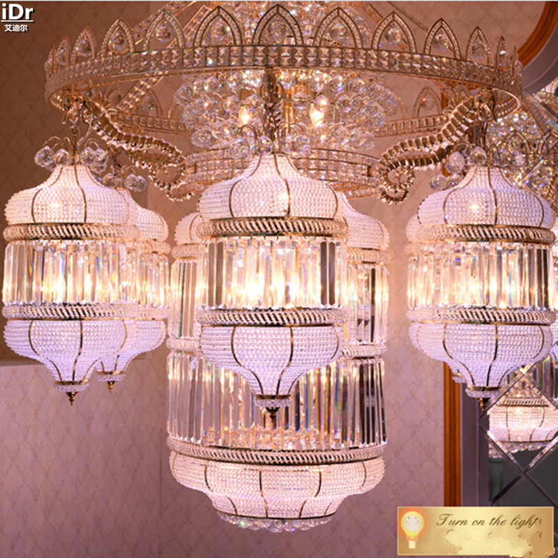 Traditional crystal headlamps hotel lobby penthouse floor living ...