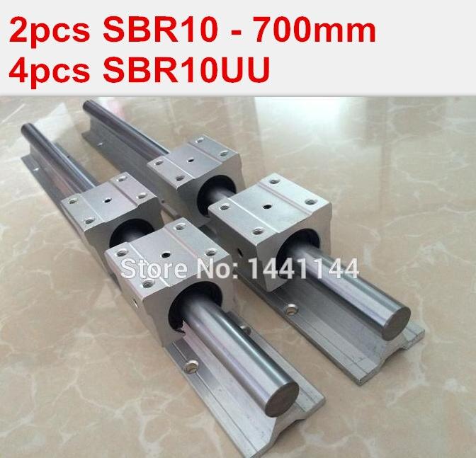 SBR10 linear guide rail: 2pcs SBR10 - 700mm linear guide + 4pcs SBR10UU block for cnc parts 1pc sbr10 l300mm linear guide 2pcs sbr10 linear bearing block