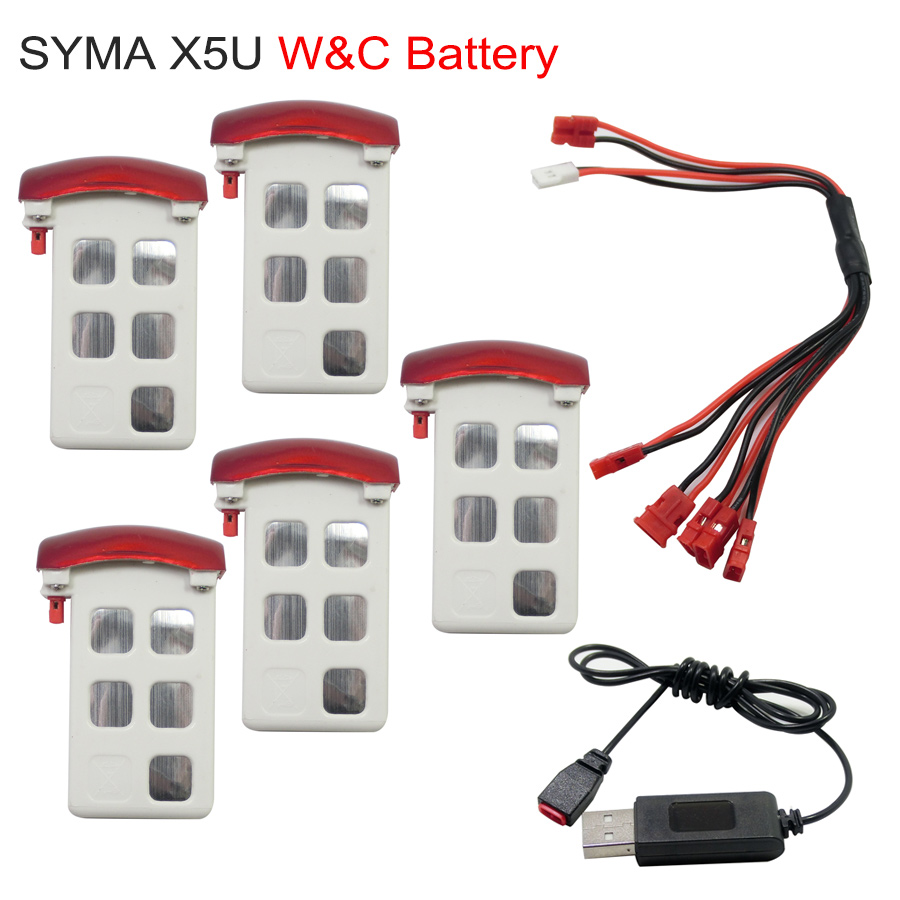 Syma X5UC X5UW Battery RC Drone Spare Parts Original Li-po Batteries And Charger 5 In 1 Line For SYMA Helicopter Accessory 3pcs 3 7v 900mah li po battery 3 in 1 black us regulation charger and charging cable for rc xs809 xs809hc xs809hw drone