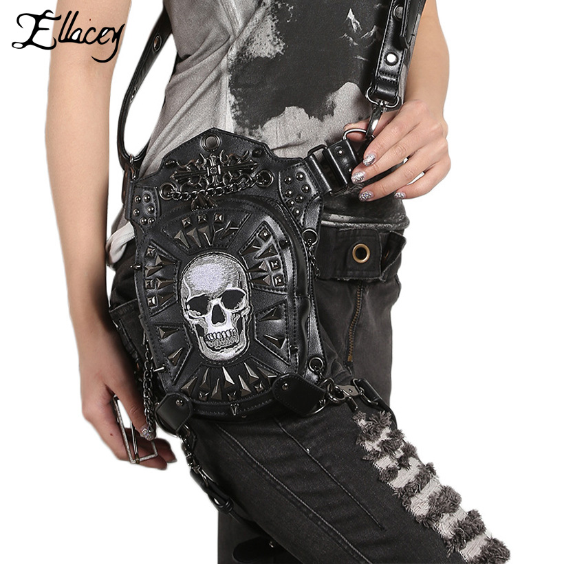 2018 Men Women Rivet Skull Belt Bag Punk Vintage PU Waist Bag Black Multifunctional Shoulder Messenger Motorcycle Fanny Pack fashionable big lip shaped pu rivet shoulder bag messenger bag for women black golden