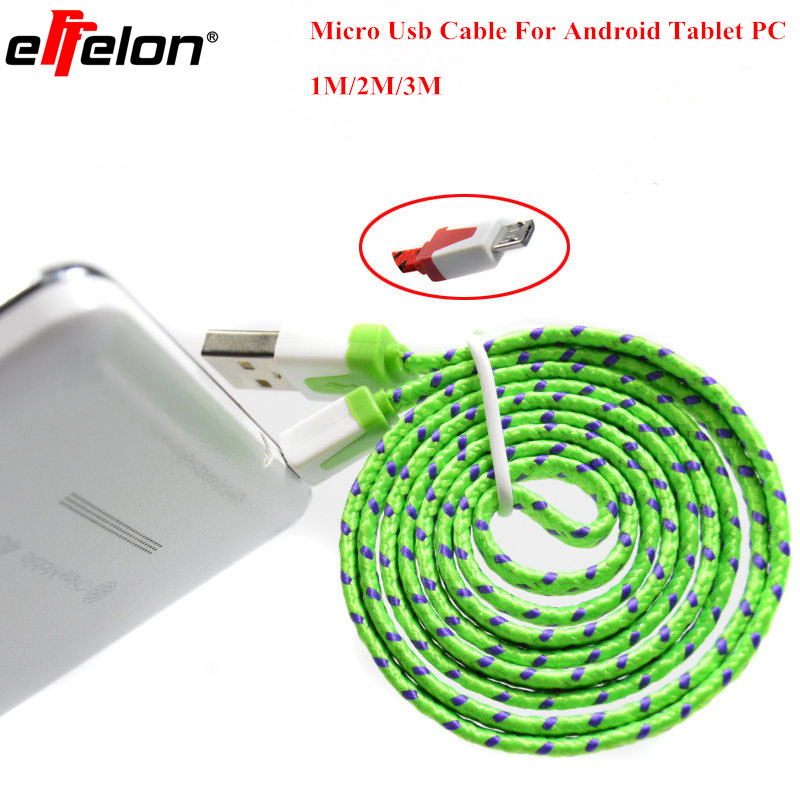 Free shipping 1M/2M/3M Nylon Micro USB Cable Charger Data Sync USB Cable Cord  For Android Smart Phone for tablet PC