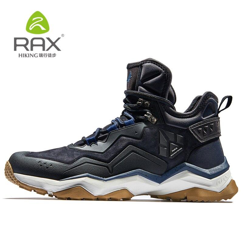 RAX chaussures de randonnée imperméables pour hommes femme chaussures de randonnée antidérapantes pour le réchauffement d'hiver des chaussures d'extérieur en cuir véritable