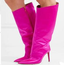 Hot Fashion All Kinds Of Colours Split Leather Shoes  Knee-High Pointed-Toe shoes Thin Heels Metal Decoration Womens Boots