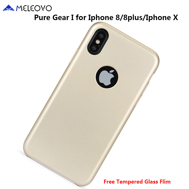 Original MELEOVO For IPhone X Luxury Double PC Microfiber Hybrid Cover Case For IPhone 7 8