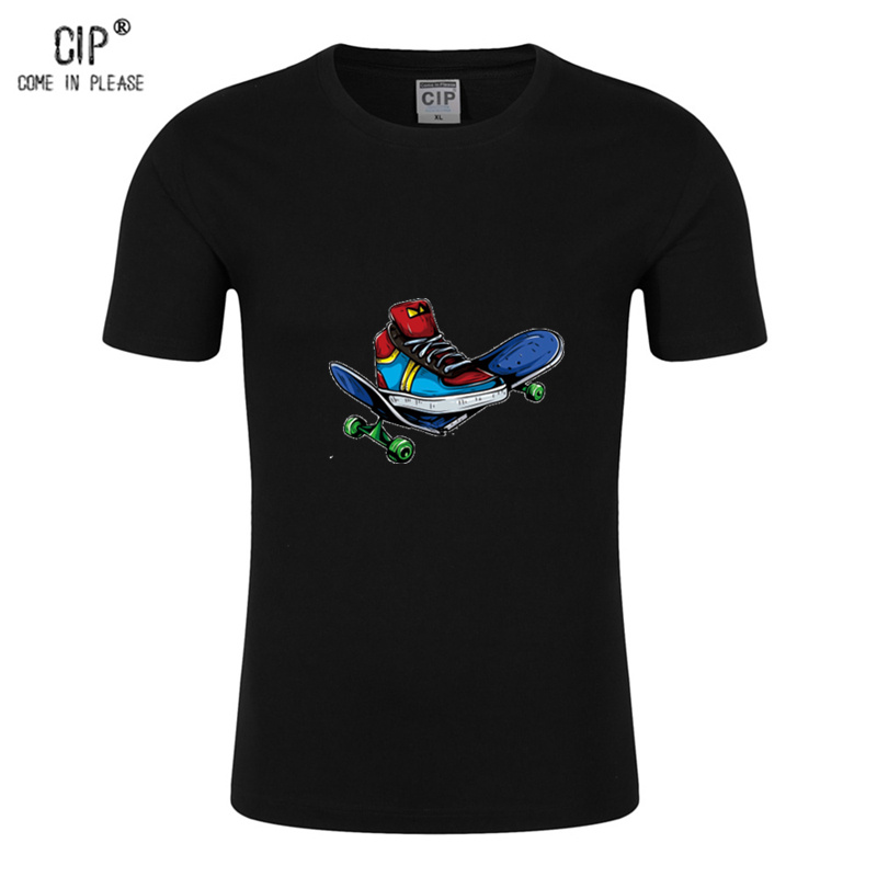 CIP 100% Cotton Skate board T-shirt Skateboard Mens T-shirts Short Sleeves Boys Girls Baby T shirt Summer High Quality Cool Tops