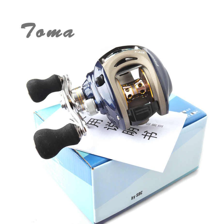 TOMA Baitcasting moulinet 6.4: 1 haute vitesse 14 + 1BB appât moulé pêche moulinet leurre roues gauche droite eau salée Max glisser 8kg