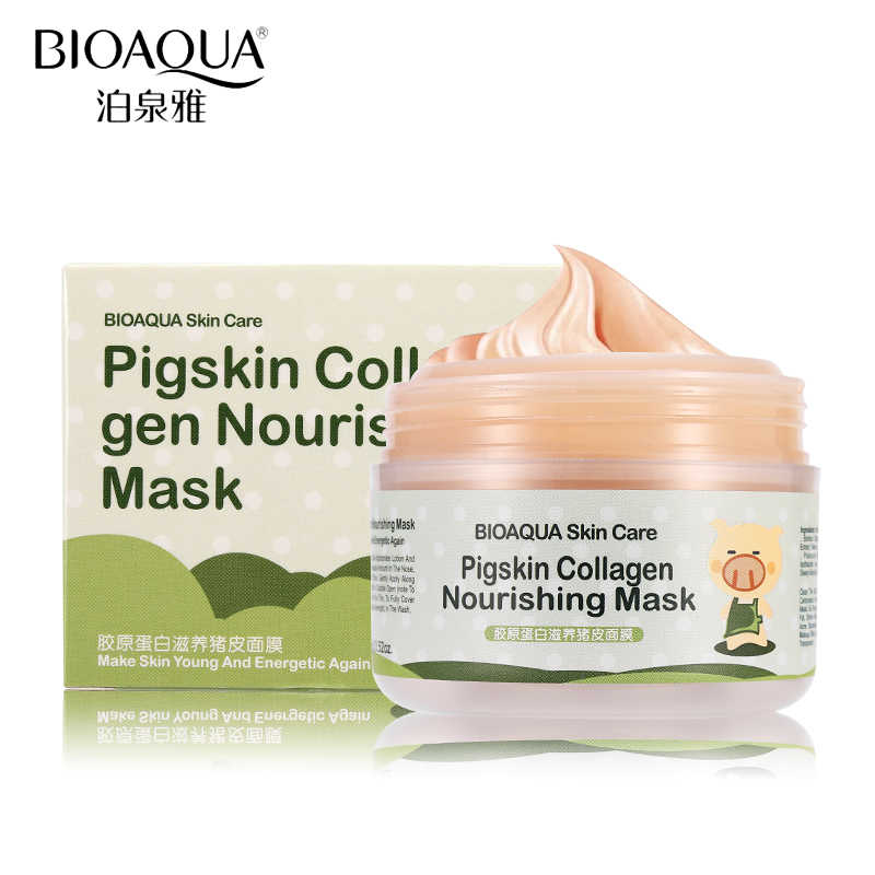 BIOAQUA Pigskin Collagen Protein Masks for Anti wrinkle Aging Acne Treatment Shrink Pore Whitening Moisturizing Blackhead Mask