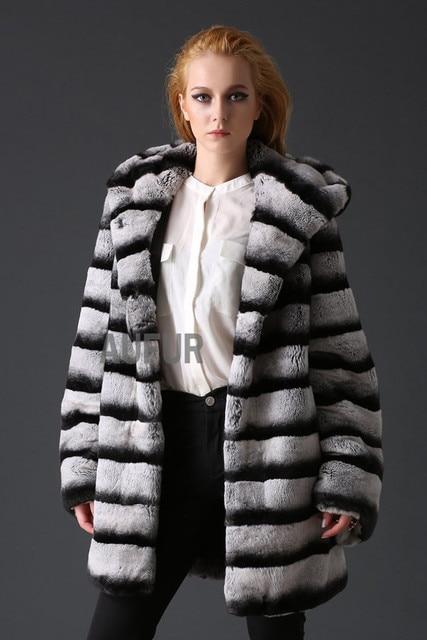 Genuine Rex Rabbit Fur Overcoat Striped Imitated Chinchilla Hoody Womens Real Fur Coat Winter Hooded Parka Thicker AU00635