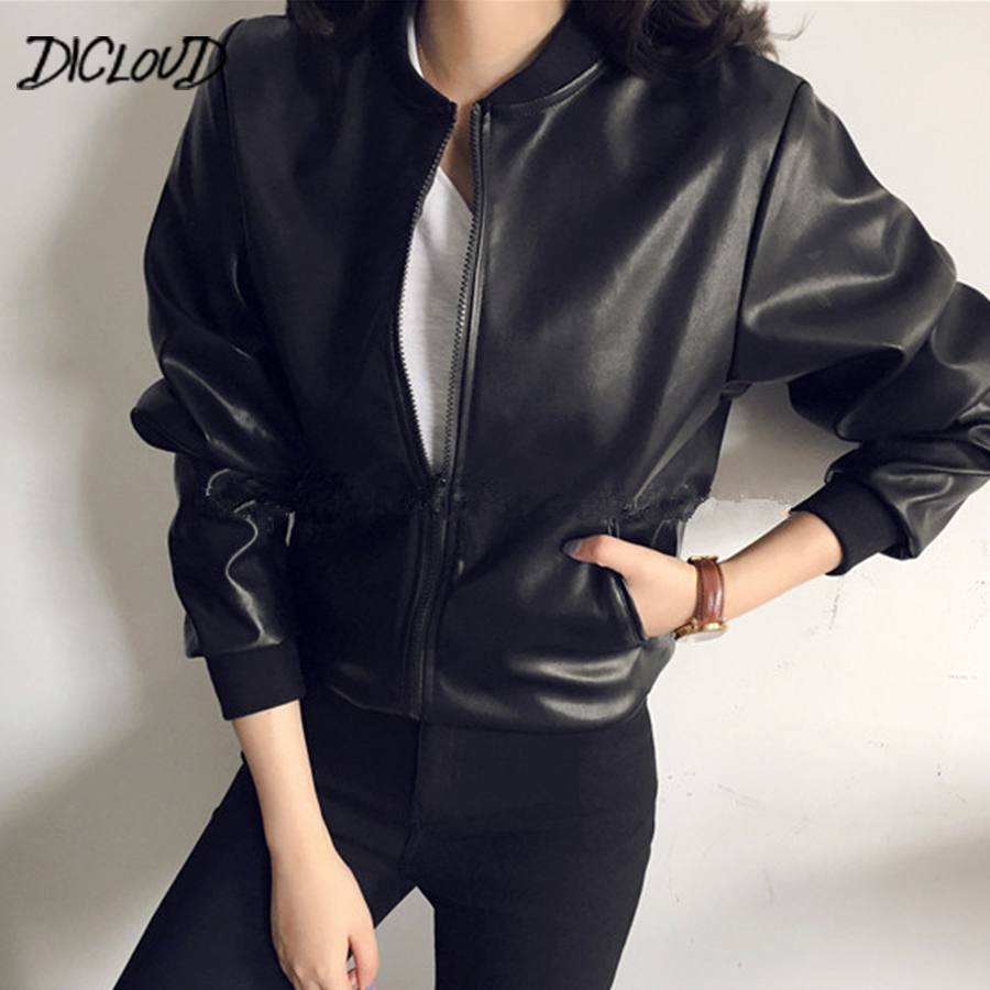 2018 Harajuku Black PU   Leather   Women   Suede   Fashion Stand Collar Plus Size Jacket Woman Autumn Casual Loose Baseball Jacket 2XL