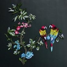 Diy parche de flores y de aves loro moda bordado marea personalidad apliques bordados parches cosidos en