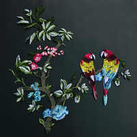 DIY flower and bird patch Parrot fashion embroidery Personality tide applique embroidered patches Sewn on