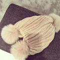 Autumn winter without brim knitted cap ladys hair ball  thickened knitted hat outdoor sports knitting cap