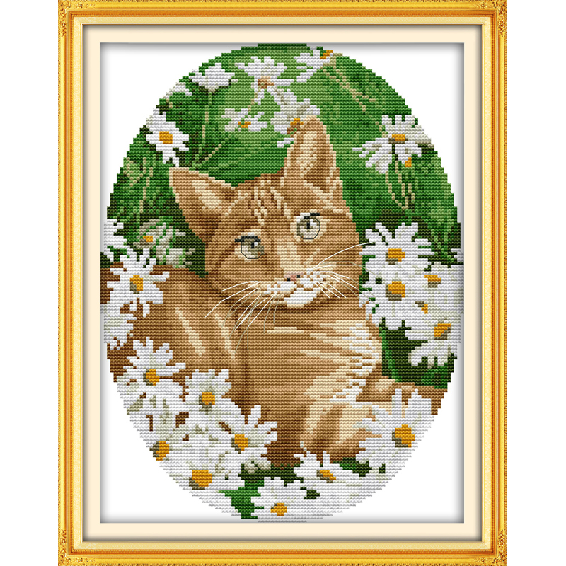 Amiable Everlasting Love Cat In The Flowers Chinese Cross Stitch Kits Ecological Cotton Stamped 11ct Diy New Year Decorations For Home Buy One Give One Home & Garden Cross-stitch