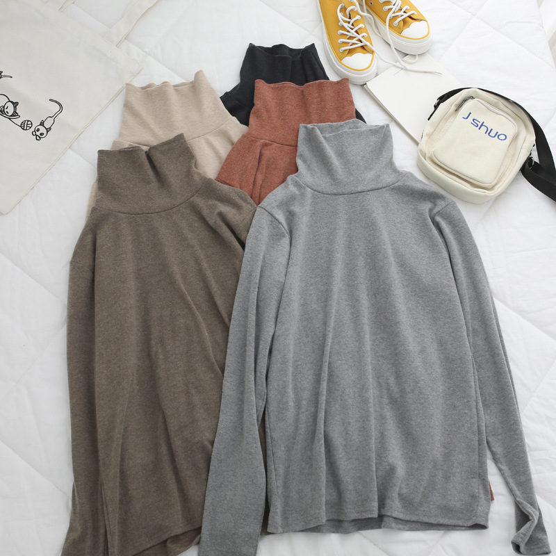 Women Long Sleeve Turtleneck Tops Fall Winter Cotton High Neck Top Latering Shirt Solid Autumn Shirt